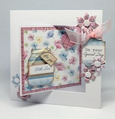 Card made using Mega All White kit with Spring Time cardstock and elements from Pop Up Silhouette kit