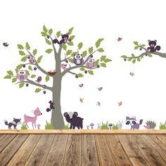These playful Little Forest wall decals will bring a very cute scene to your wall. An adorable woodland tree along with darling little animals are