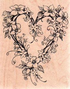 New PSX RUBBER STAMP k-2221 Clematis & Twig Heart 1999 Love valentine #PSX