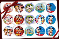 Mickey Mouse Christmas clip art bottle cap images. Digital printable collage sheet perfect for bottle caps, stickers, hair bows, buttons, magnets, pendants, cupcake toppers, bottle cap necklaces, birthday party favors, scrapbooking, cabochons, gift tags, jewelry, and craft supplies.   WHATS INCLUDED WITH PURCHASE  ♥ 15 crisp, clean 600 dpi, high resolution images on a JPEG file ♥ You can print either one set of 15 images or two set of 30 images per standard letter size paper as many times…