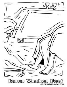 Jesus Washes The Disciples Feet Coloring Page