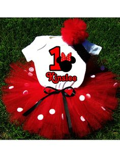 NEEDS TO BE MICKEY! Birthday Minnie Mouse Tutu Outfit Costume by PrettyAsAPrincess2, $39.99