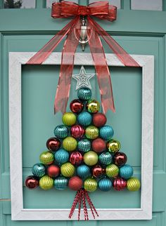 DIY Holiday Wreaths Make Awesome Homemade Christmas Decorations for Your Front D. - Decoration for House Front Door Christmas Decorations, Christmas Ornament Wreath, Homemade Christmas Decorations, Noel Christmas, Holiday Wreaths, Christmas Projects, Ornament Tree, Christmas Ideas, Office Christmas