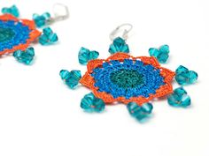 Bohemian Jewelry / Crochet Lace Earrings / Beaded by PinaraDesign