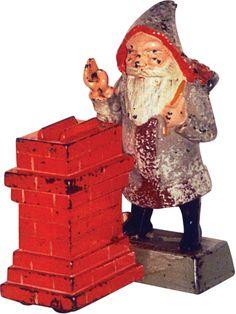 Santa at a chimney bank Antique Safe, Money Bank, I Remember When, Old Toys, Vintage Toys, Piggy Banks, Cast Iron, Vintage Christmas, Vintage Antiques