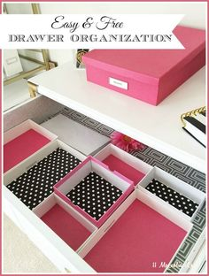 Easy, no-cost drawer organization Easy and low-cost way to organize desk drawers by reusing boxes (these are phone and iPad) and lining with scrapbook paper--free organization for office space using things you already have. Organisation Hacks, Office Drawer Organization, Diy Drawer Dividers, Organizing Drawers, Project Life Organization, Bedroom Organization, Diy Organizer, Storage Organizers, Diy Drawers
