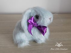 Ami Little Creature: Easter Bunny Rabbit (pattern: LittleOwlsHut) Yarn Needle, Needle Felting, Purple Ribbon, Easter Crochet, Designer Toys, How To Make Shorts, Embroidery Thread, Bunny Rabbit, Easter Bunny