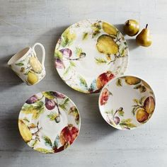 Bring the bounty of the orchard to your table with our Verona ironstone dinnerware. Decorated with fresh, fall fruits like pears, pomegranates, apples and figs, this vibrant collection is sure to be the centerpiece for everyday dining and special occasions as well.