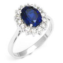 5dcc2048507 Luxo britânica Kate princesa Diana William noivado azul safira anel Pure  925 prata(China (