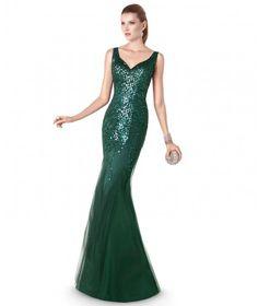 Vestido de fiesta largo joya de tirantes con escote de pico en verde musgo