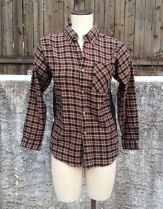Red, Tan and Black Grunge Flannel Plaid Top with Black Lace by BobbyLerza on Etsy https://www.etsy.com/listing/217734574/red-tan-and-black-grunge-flannel-plaid