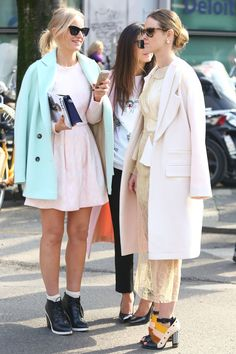 Perfect in pastels. #Streetstyle #MFW Fall 2014