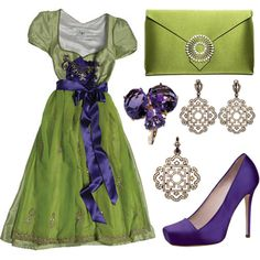 A fashion look from October 2008 featuring flower pendant, green dress and green bags. Browse and shop related looks.