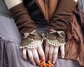 Miss Eyre - crocheted open work lacy romantic fall fasion  wrist warmers cuffs in brown and beige. $35.00, via Etsy.