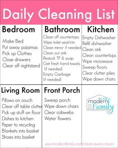 Printable Daily Cleaning List - Home Cleaning Routine Daily Cleaning Checklist, Deep Cleaning Tips, Cleaning Solutions, Cleaning Hacks, Cleaning Schedules, Fall Cleaning, Weekly Cleaning, The Flylady, How To Clean Mirrors