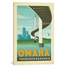 East Urban Home Art & Soul of America American Cities Collection: Omaha, Nebraska (Bob Kerrey Pedestrian Bridge) Vintage Advertisement on Wrapped C...