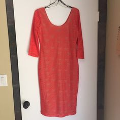 NWT Coral/Orange Textured Dress Brand-new with tags attached and in perfect condition. Vibrant knee length dress with scoop front and back. Nude lining and textured overlay.  I'm 5'8 and its approx knee length on me. ❌NO TRADES/OTHER SITES. Dresses