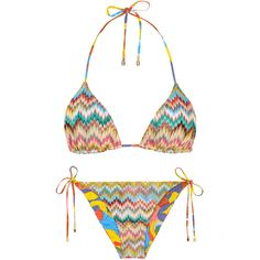 Missoni Mare Zigzag-knit Reversible Bikini - Size 10 (€425) ❤ liked on Polyvore featuring swimwear, bikinis, tankini tops, halter bikini, halter bikini swimwear, halter-neck bikinis and halter neck bikini