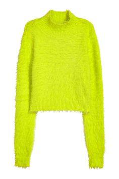 クロップドハイネックセーター - ネオンイエロー - Ladies | H&M JP