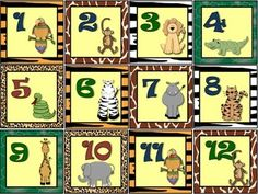 This lovely Spanish calendar set is beautifully illustrated with jungle and safari-related graphics on animal-patterned backgrounds. It has number cards from 1-31, holiday cards for special days like Navidad, San Valentín, Hannukah, Kwanzaa, Cinco de Mayo, Pascua, San Patricio, Día de Acción de Gracias, Noche de Brujas, 4 de Julio y cumpleaños.