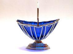 Cobalt Blue Glass and Chrome BonBon Dish