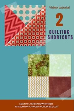 "Check out these 2 shortcuts. One of them makes four 3 patch quarter square triangle at once. The other one makes two quilt blocks Order my book Turnabout Patchwork ""Turnabout Patchwor… Quilting For Beginners, Sewing Projects For Beginners, Quilting Tips, Quilting Tutorials, Quilting Projects, Quilting Designs, Sewing Tutorials, Triangle Quilt Tutorials, Baby Quilt Tutorials"