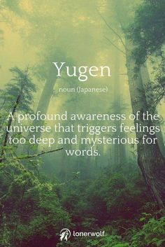 yugen = a profound awareness of the universe that triggers feelings too deep and mysterious for words.