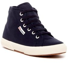 Superga Cotu High Top Sneaker (53 CAD) ❤ liked on Polyvore featuring shoes, sneakers, navy, navy blue sneakers, navy sneakers, lace up sneakers, lace up shoes and superga high tops