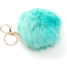 Fuzz Ball Fur Keychain MINT (Final Sale) ($7.50) ❤ liked on Polyvore featuring accessories, green, ring key chain, fur key chain, locking key ring, key chain rings and keychain key ring