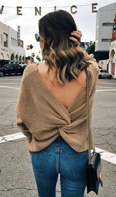 Brown Open Back Knit & Skinny Jeans