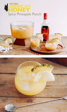 The prefect sweet and spicy combo with Wild Turkey American Honey. #Recipe #Drink #pineapplepunch #punchrecipe
