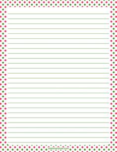 Printable pink and green polka dot stationery and writing paper. Multiple versions available with or without lines. Free PDF downloads at http://stationerytree.com/download/pink-and-green-polka-dot-stationery/