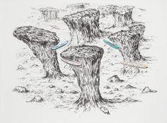 Matias Duville - Descampado. 2008. charcoal-pastel -on paper. 140 x 190 cm.