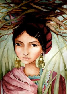 guatemalan woman carrying  fire wood art by PrintIllustrations,