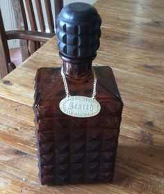 Vintage Dark Brown Glass Scotch With Label Used Preowned