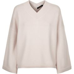 Jaeger Deep V Slouchy Jumper, Pale Pink (325 BGN) ❤ liked on Polyvore featuring tops, sweaters, pale pink sweater, cropped sweater, print sweater, v-neck sweater and patterned sweater