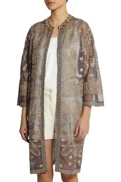 Gray sheer silk-organza Gold embroidery, bead and multicolored crystal embellishments, slit pockets Concealed hook fastenings through front 100% silk Specialist clean