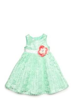 Nannette  Pleated Lace Dress Toddler Girls