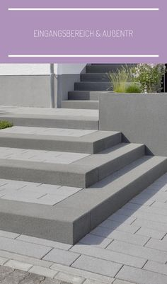 External staircase and house entrance - design ideas from Rinn Beton - Entrance area & outside stairs – Rinn concrete blocks and natural stones - Entrance Design, House Entrance, Garde Corps Design, Outside Stairs, External Staircase, Cinder Block Garden, Patio Steps, Modern Stairs, Concrete Blocks