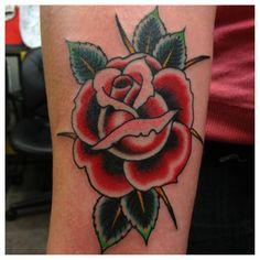 Old school rose tattoo flash rose tattoo style royalty for Tattoo corpus christi