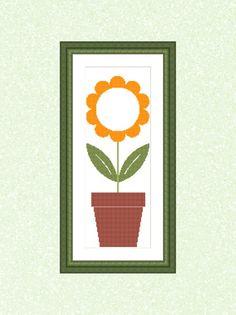 Sunflower Pot Instant Download Cross Stitch Pattern | Etsy Dmc Floss, N21, Different Fabrics, Minimalist Design, Cross Stitch Patterns, How Are You Feeling, Symbols, Frame, Prints