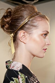 Tousled Bun with gold head band