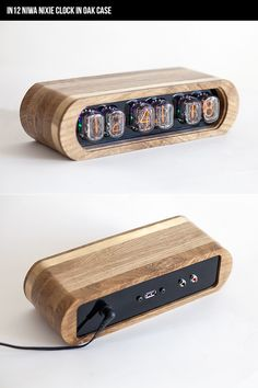 New collection of NIWA NIxie clocks on kickstarter-IN12 Nixie clock in OAK and BRASS case.