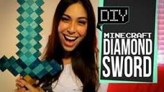 How to make a Minecraft diamond sword with just glue, wood cubes, and acrylic paint :) thanks ihascupquake! Minecraft Diamond Sword, Minecraft Sword, All Minecraft, Minecraft Room, Minecraft Videos, Minecraft Crafts, Minecraft Costumes, Tiffany Quake, Minecraft Birthday Party