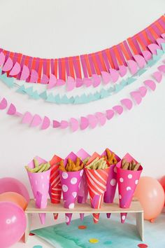 DIY Paper Party Cones for all kinds of party snacks. Easy to grab, looks cute and a great way to tie in any snacks to your party theme. #sponsored #Harvestsnaps