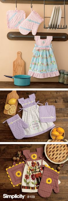 These adorable towel dresses will add some fun to your kitchen. Dresses tie over towel rack oven door handle or anywhere else you might need a hand towel. Miniature pot holders and oven mitts also included. - Hand Towels - Ideas of Hand Towels Sewing Lessons, Sewing Hacks, Sewing Crafts, Sewing Projects, Sewing Diy, Sewing Aprons, Sewing Ideas, Towel Dress, Hanging Towels