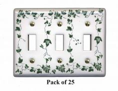 25 Switch Plate White Porcelain Ivy Triple Toggle Switch