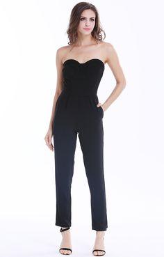 Black Strapless Pockets Zipper Slim Jumpsuit 16.79
