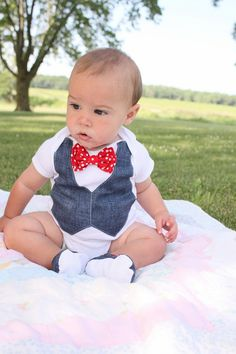 Baby boy 4th of July patriotic shirt bow tie shirt by haddygrace,