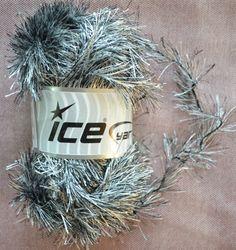 New 100 grams 150 meters Ice Eyelash Yarn Black Silver Polyester 3.5 oz 164 yds #Ice #Eyelash